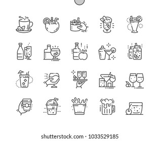 Drinks Well-crafted Pixel Perfect Vector Thin Line Icons 30 2x Grid for Web Graphics and Apps. Simple Minimal Pictogram