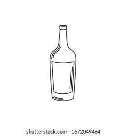 drinks wine bottle appetizer liquor vector illustration line style icon