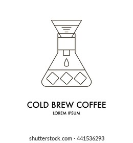 Drip brewing, filtered, pour-over, cold brew coffee collected in the flask with ice cubes, iced coffee maker, vector line icon isolated on white background, logo.