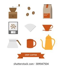 Drip coffee icon set