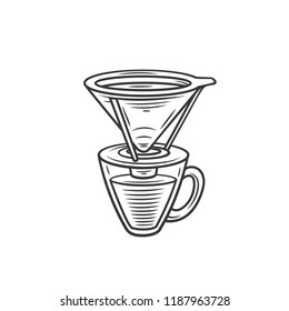 Drip coffee maker with filter. Engraving retro style. Vector  illustration.