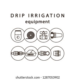 Drip irrigation. Line icons of equipment for irrigation system in the garden area.
