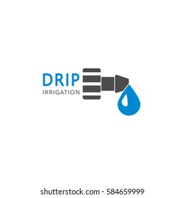 Drip irrigation system logo design vector template.