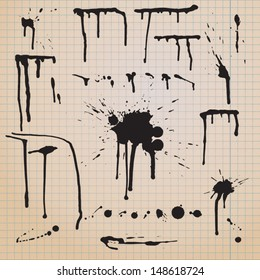 Drip splatter paint; grunge vector template with black paint ink splashes.