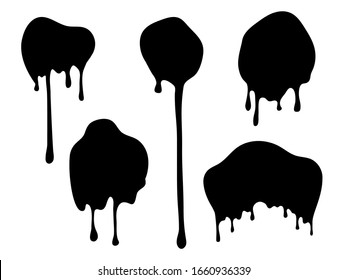 Dripping blobs. Black ink drops. Flat paint spots. Isolated flow oil or dark slime vector illustration.