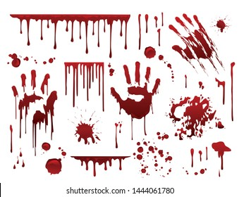 Dripping blood. Halloween bloody splatter spots and bleeding hand traces.  Collection various  red paint splatter, isolated on white background.