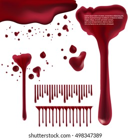Dripping blood isolated on white background. Vector Set of different blood splashes, drops and trail. Dripping blood seamless repeatable. Halloween concept : Blood dripping. Blood on white background.