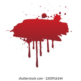 Dripping blood or red brush stroke isolated on white background. Halloween concept, ink splatter illustration.