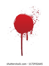 Dripping blood or red circle brush stroke isolated on white background. Halloween concept, ink splatter illustration.