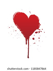 Dripping blood or red heart brush stroke isolated on white background. Halloween concept, ink splatter illustration.