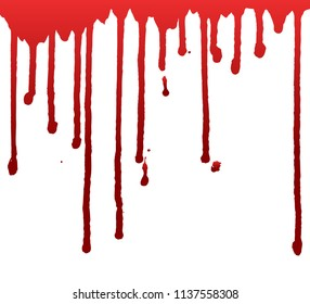 Dripping blood  or red paint isolated on white background. Halloween concept, ink splatter illustration.