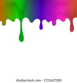 Dripping colorful paint. Dripping liquid. Liquid fluid. Spill paint. Falling paint. Liquid oil stain. Abstract, liquid drops of ink. Vector illustration