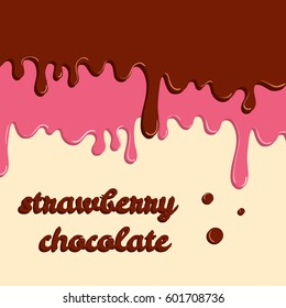 Dripping glaze background. Strawberry and chocolate liquid sweet flow, tasty dessert topping with colorful sprinkles. Vector illustration. Food theme.