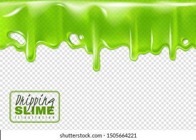 Dripping green slime. Slimy toxic drips isolated, goo flow and mucus fluid. Liquid decoration borders 3d halloween vector painted ghost flowing stain background