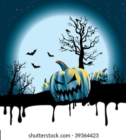 A dripping Holloween background with a full moon rising over a desolate pumpkin patch.
