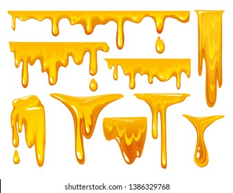Dripping honey on white background. colorful collection of delicious honey drops. Melted honey isolated on white background. Vector illustration.