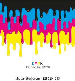 Dripping ink CMYK stain. Liquid ink, paint drip. Vector illustration.
