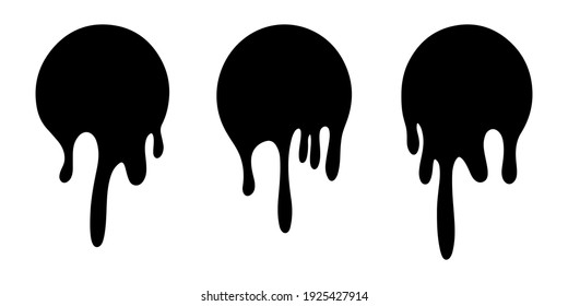 Dripping liquid. Current paint, stains. Paint dripping. Current inks. isolated on white background. Vector illustration.
