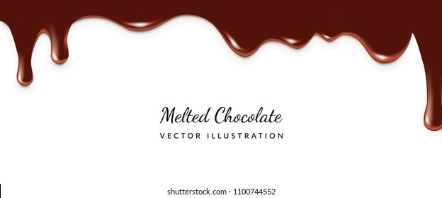 Dripping Melted Chocolates Isoalted. Realistic 3d Vector Illustration of Liquid Chocolate Cream or Syrup with Place for Text
