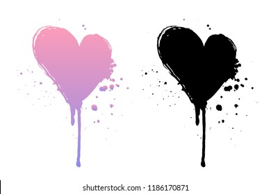 Dripping paint or black and pink grunge hearts. Brush stroke isolated on white background. Ink splatter illustration.