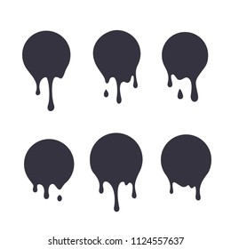 Dripping paint icon set. Current liquid. Paint flows. Melted circle logo. Current paint, stains. Current inks.