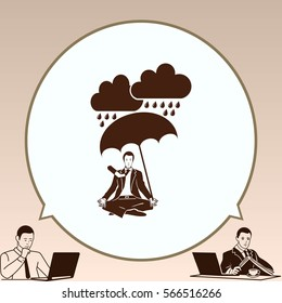 Dripping rain. Overcast. A man with an umbrella. Rain clouds. A man in a suit sitting meditating. Businessman relaxes. Vector illustration.
