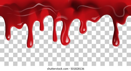 Dripping seamless blood. Flow liquid, drip wet. Thick red ketchup or jam flow down Halloween concept: Blood dripping Border - Seamless Vector on transparent background
