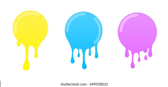 Dripping slime. Colorful dirt splat, goo dripping splodges of slime. Vector Illustration with Cute Cartoon Color Paint Splashes, Splatters, Spot, Blots Flat style