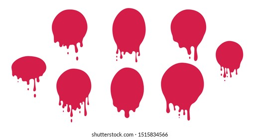 Dripping Wet Paint Circle. Ink drop, Liquid Splash / Splatter, Melted Metal, Wax Stamp, Chocolate Stain. Illustrated Vector Paint Set