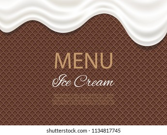 Dripping white ice cream flowing over waffle texture background. Cafe menu, food packaging design.