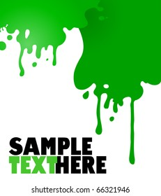 drips of green paint vector background