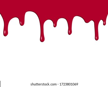 Drips of red paint reminiscent of blood. Vector illustration