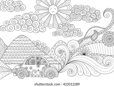 Drive around clean lines doodle design for coloring book for adult
