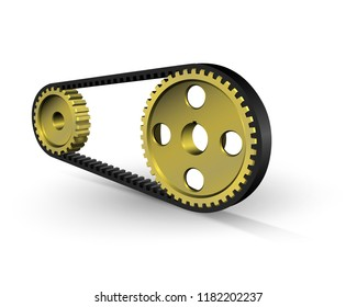 Drive belt on pulleys. Steel gears. Belt drive mechanism. Vector illustration.