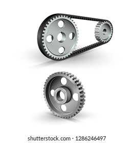 Drive belt on pulleys. Steel gears. Belt drive mechanism. Timing pulley. Industrial background. Vector illustration.