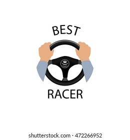 Drive a car sign. Best racer banner. Diver design element with hands holding steering wheel. Vector icon.