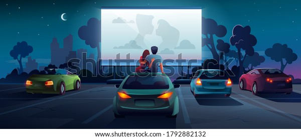 Drive cinema or car movie theater, auto theatre, vector cartoon outdoor screen background. Car cinema or drive movie in open air, boy and girl couple embrace, sit and watch romantic movie on car roof