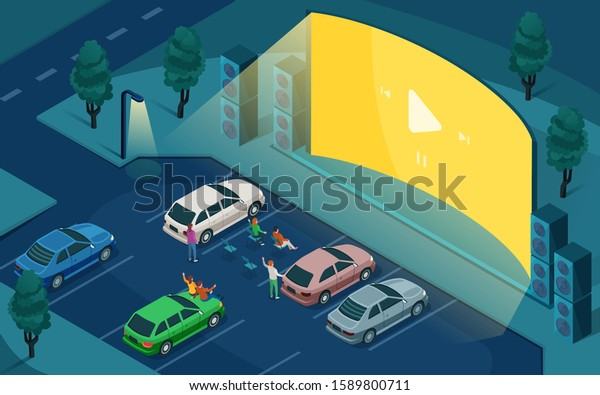 Drive Cinema Car Open Air Movie Stock Vector Royalty Free 1589800711
