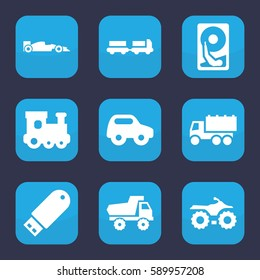 drive icon. Set of 9 drive filled icons such as truck with luggage, toy car, train toy, truck, flash drive, sport car, hard disc
