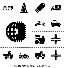 Drive icons. set of 13 editable filled drive icons such as tunnel, road, toy car, cpu planet, flash drive, motorcycle, military car, truck with luggage, train toy