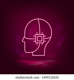 Drive, internal, intelligence, brain, chip neon icon - vector. Artificial intell