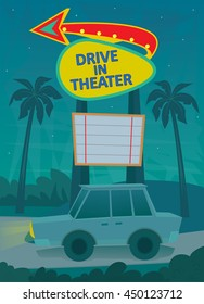Drive In Poster - A night scene of a drive in theater entrance, with a neon sign and a car driving by. Eps10