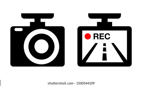 Drive recorder, Dvr illustration icon image material. black and white red. vector pictogram isolated on white.