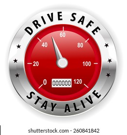 drive safe and stay alive icon or symbol - safe driving concept vector
