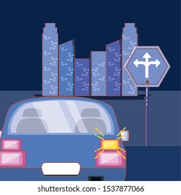drive safety car with turn signal vector illustration