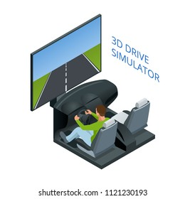 Drive simulator. Design concept driving school or learning to drive. Flat isometric illustration.