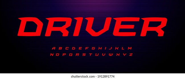 Drive sport font. Wide italic letter with modern spurs, fast speed effect. Alphabet for energy motion logo, monogram and headline text of sport, game, delivery and innovate technology. Vector typeset