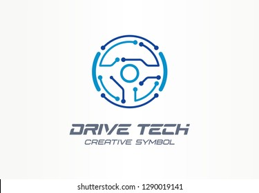 Drive tech creative symbol concept. Autonomous car, futuristic auto technology abstract business logo. Driver less vehicle, vr steer wheel icon. Corporate identity logotype, company graphic design