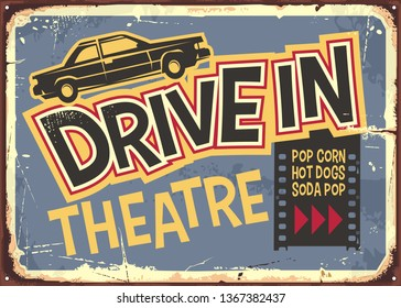 Drive in theater vintage sign design. Open air cinema retro poster with funky typography and car graphic. Vector movie and film illustration.