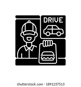 Drive through window black glyph icon. Fast food order. Restaurant employee. Burger for customer. Express delivery service. Silhouette symbol on white space. Vector isolated illustration